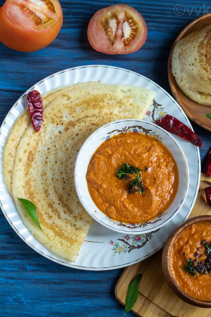 easy tomato chutney served in a white ceramic bowl