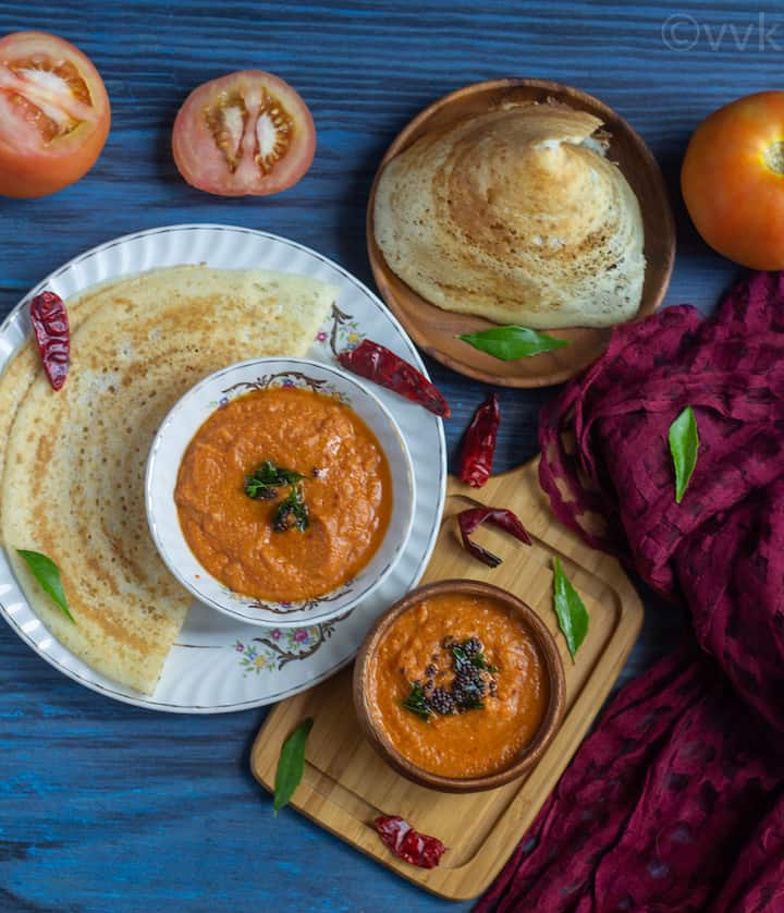 overhead tomato chutney shot served with cone dosa