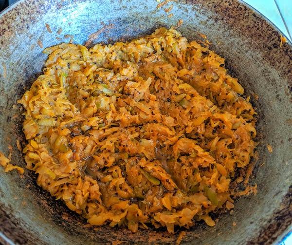 mango thokku adding last tbsp of oil