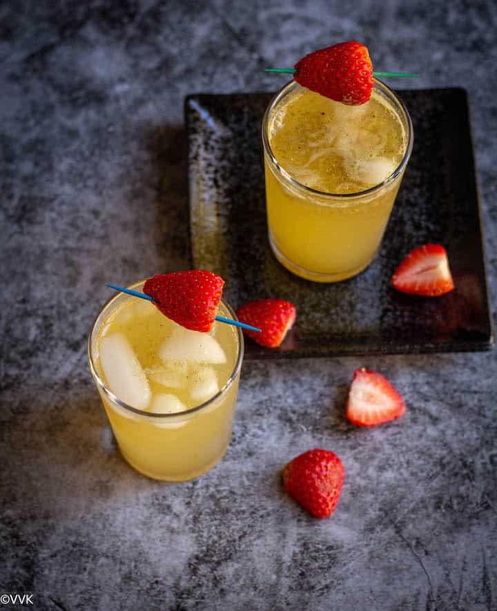 overhead shot of jaljeer drink with strawberry