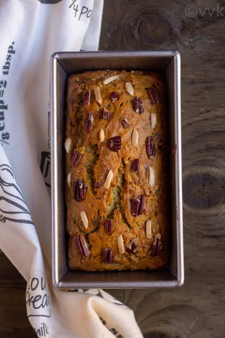 eggless banana bread right from the oven in the loaf pan
