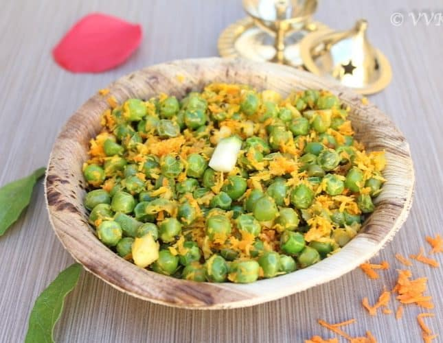 Manga-Thenga Pattani Sundal | Peas Sundal with Raw Mango and Coconut