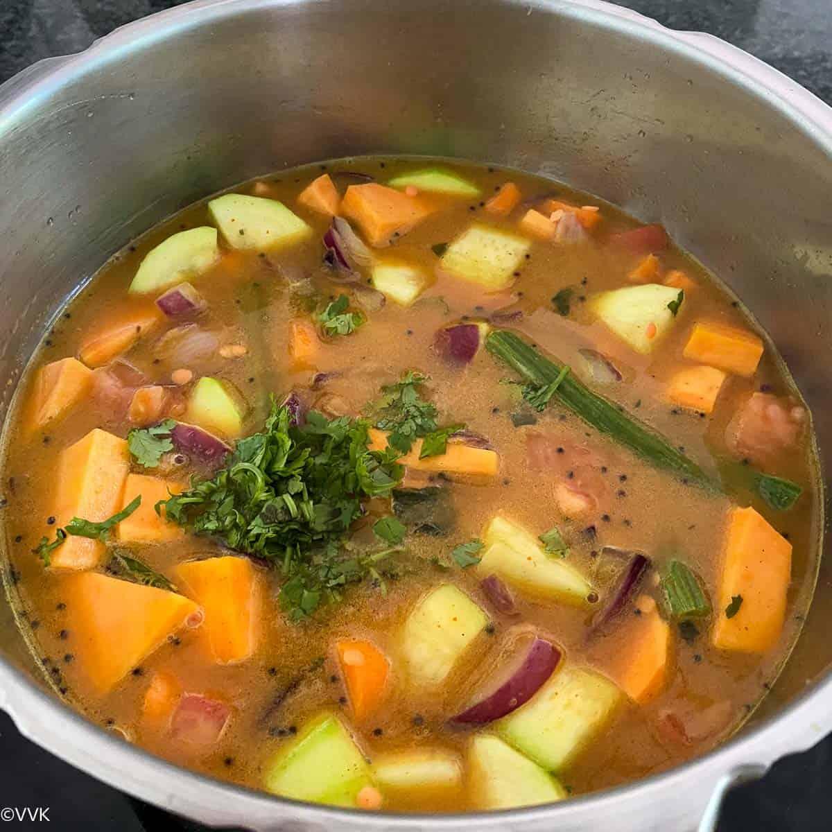 add cilantro and pressure cook