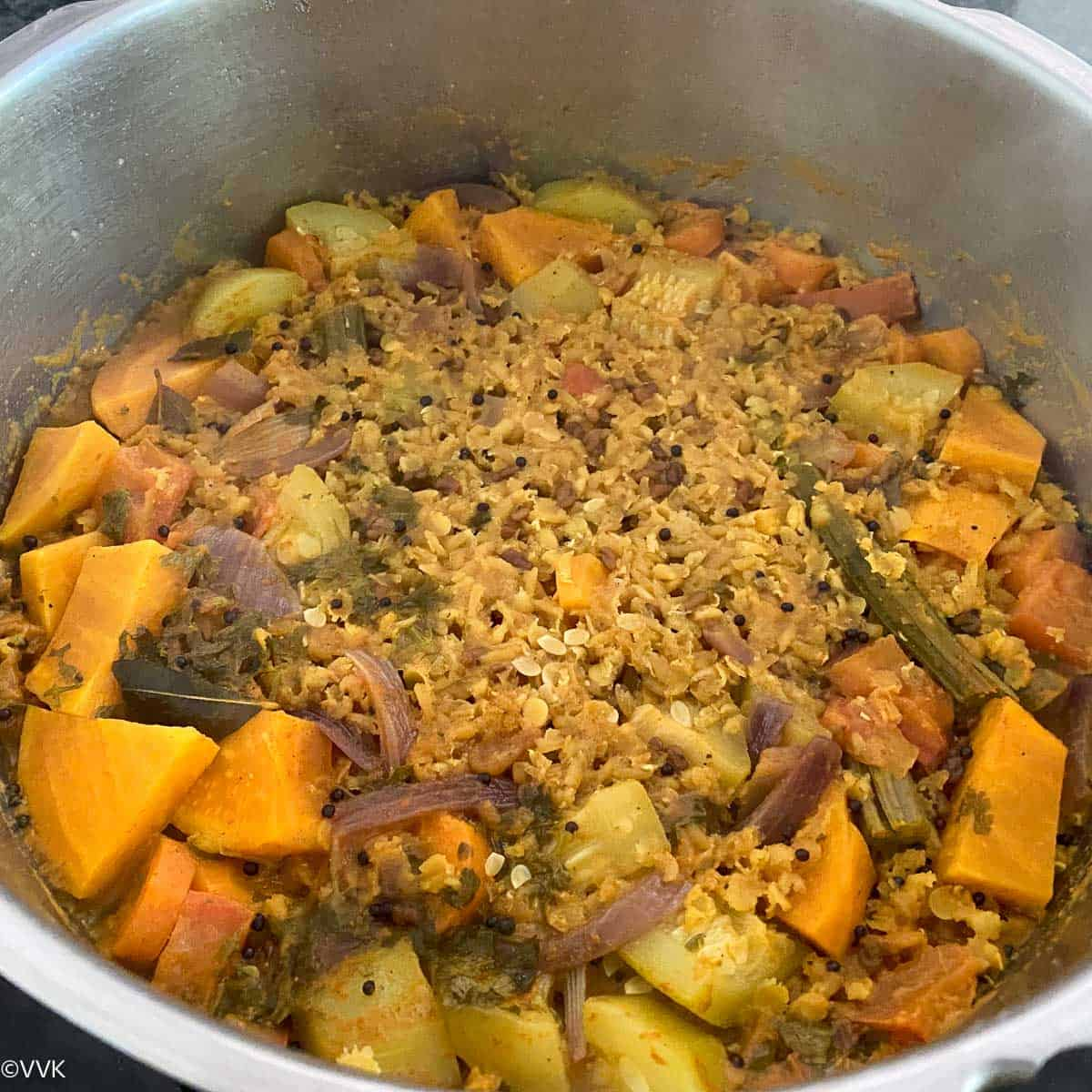 cooked masoor dal sambar