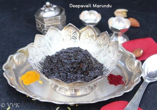 Closeup of the delicious Deepavali Legiyam or Deepavali Marundu served in a very nice glass bowl