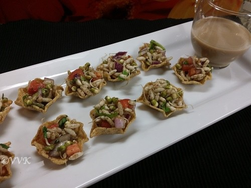 Tortilla Bhel Cups with sprouted moong dhal