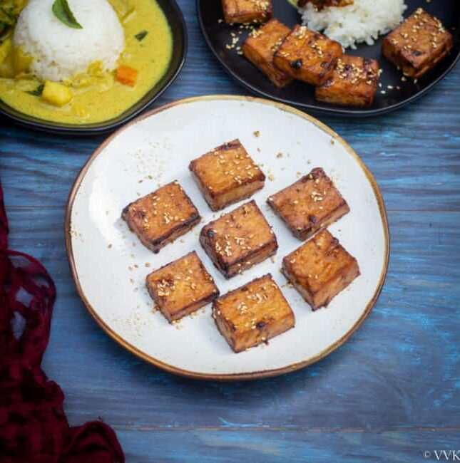 square image of teriyaki tofu recipe on a white plate