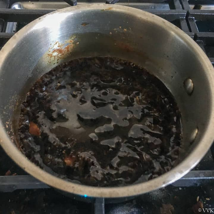 teriyaki sauce thickened and simmering