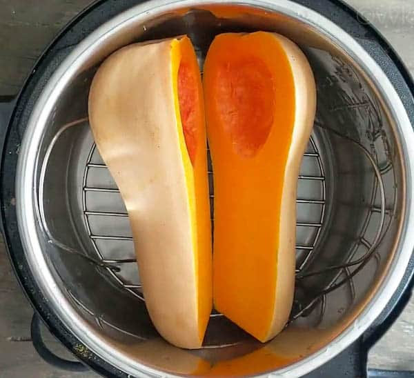 placing butternut squash in Instant Pot