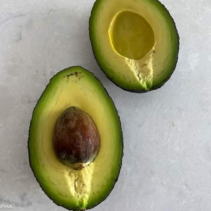 avocado cut into two