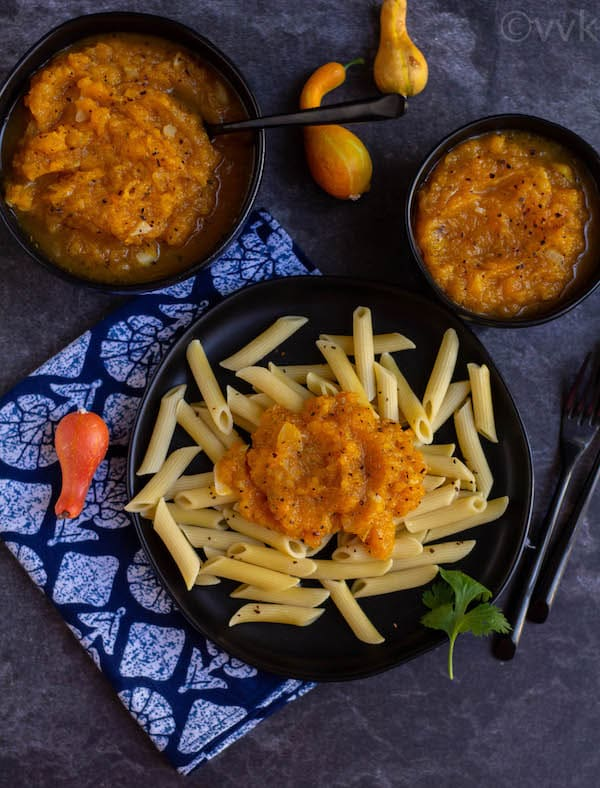 penne pasta topped with butternut squash pasta sauce