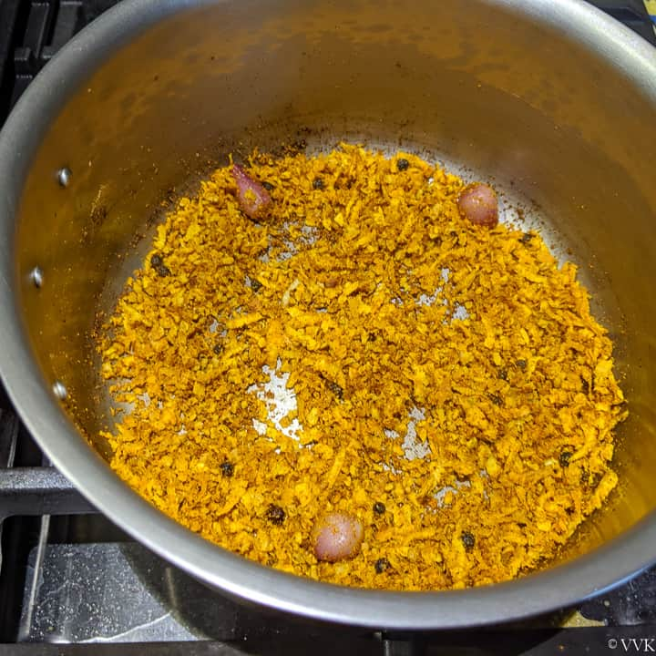 roasted spices and coconut for theeyal
