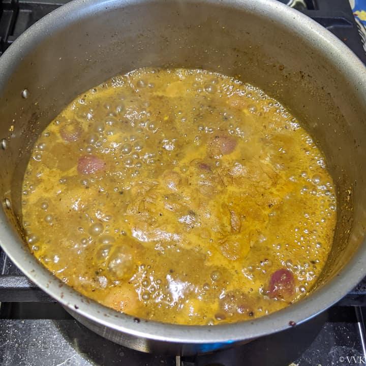 bringing theeyal to a boil