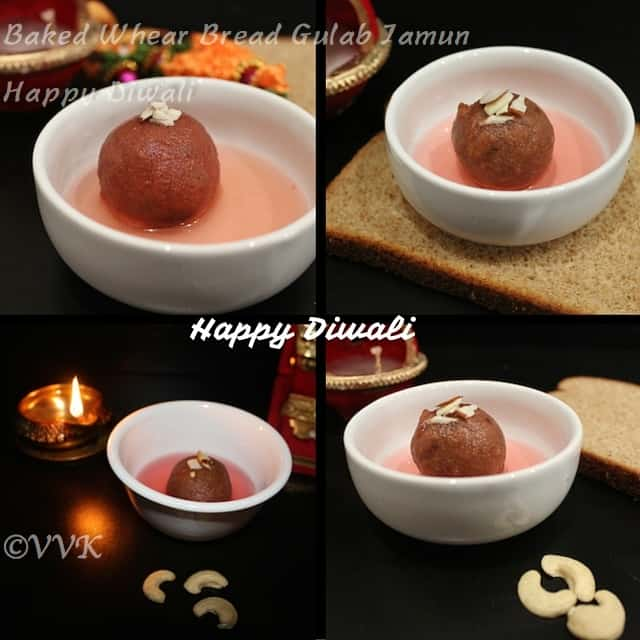 collage of wheat bread baked gulab jamun