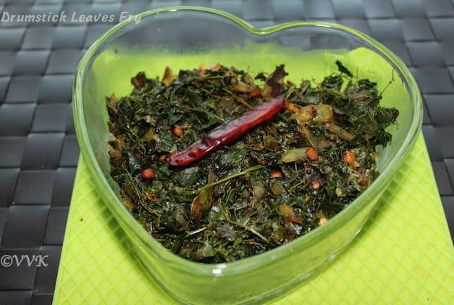 Drumstick stick leaves curry – Murungai keerai kai / fry
