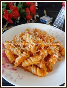 pasta in red bell pepper sauce 6