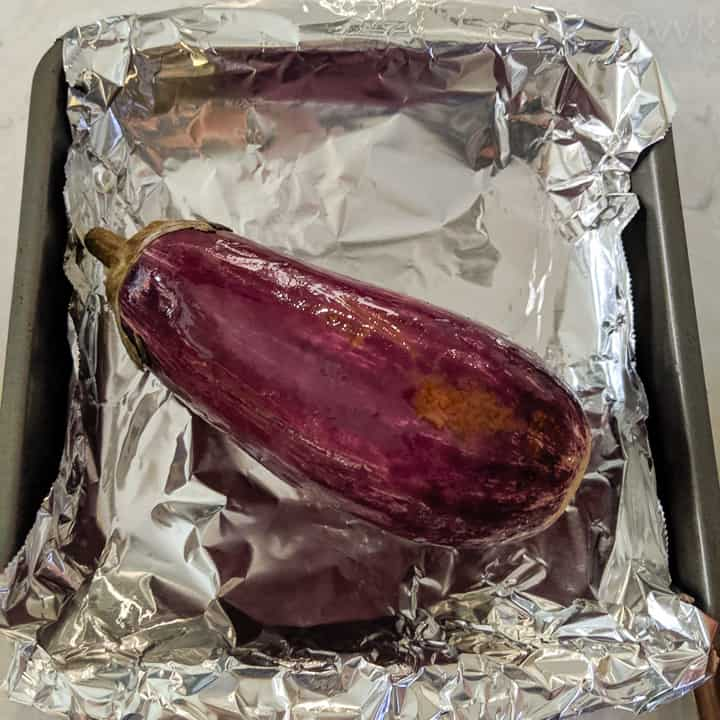 eggplant smeared with oil for broiling