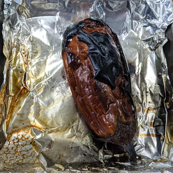 broiled eggplant for the raita