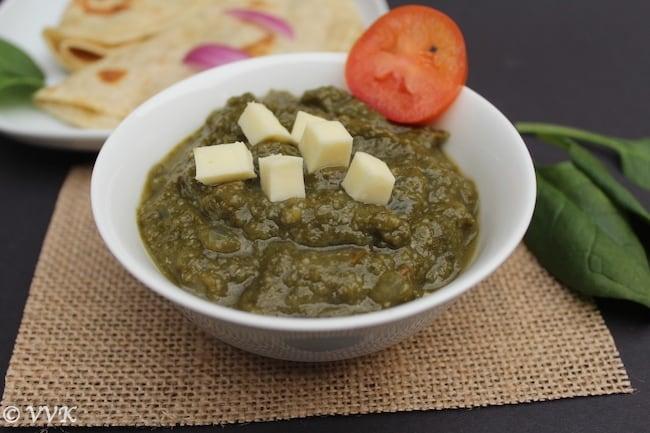 Saag paneer served in a round bowl