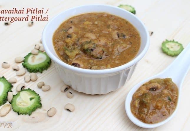 Pavakkai Pitlai / Bitter Gourd Black Eyed Peas Sambar