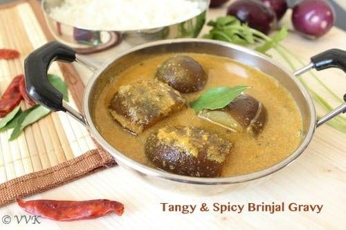 Katharikai Puli Kuzhambu With Coconut | Tangy & Spicy Brinjal Gravy