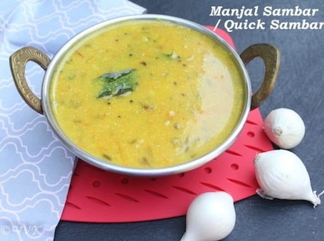 Manjal Sambar | A Quick Tiffin Sambar with Besan