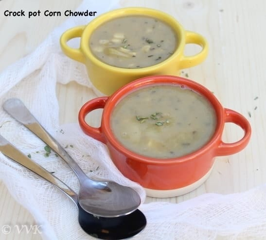 Slow Cooker Vegetarian Corn and Potato Chowder