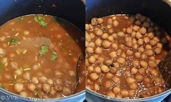 Adding chopped cilantro and letting it simmer in the same pan