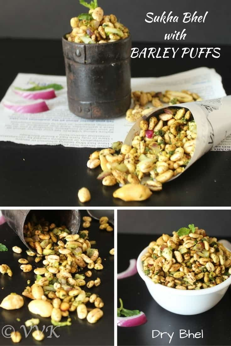 Sukha Bhel with Barley Puffs collage with text overlay