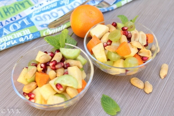 Fruit and Vegetable Chaat ready and served in glass bowls