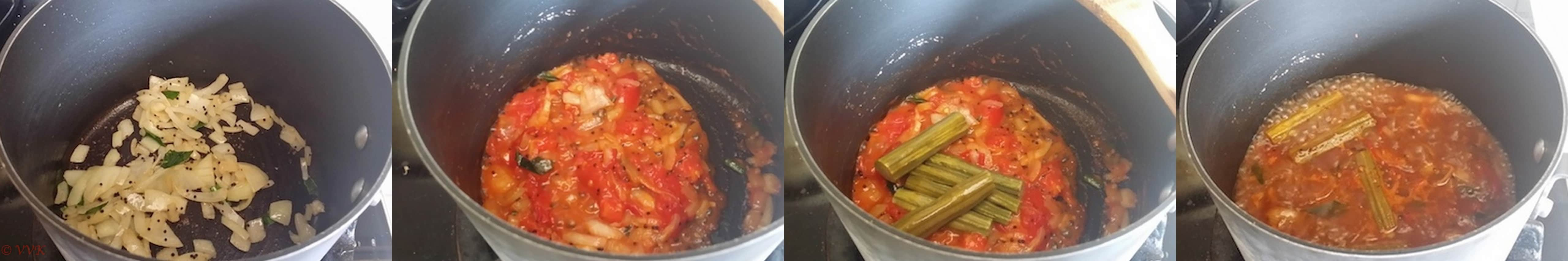 Frying onions, then adding tomatoes and then drumsticks and the tamarind water