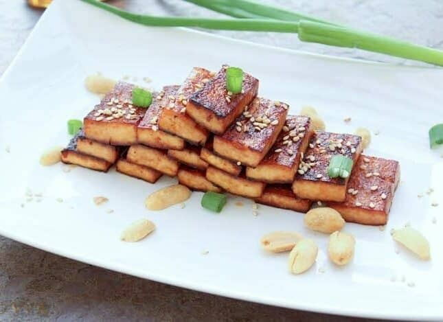 Nectar Glazed Tofu with Roasted Sesame Seeds