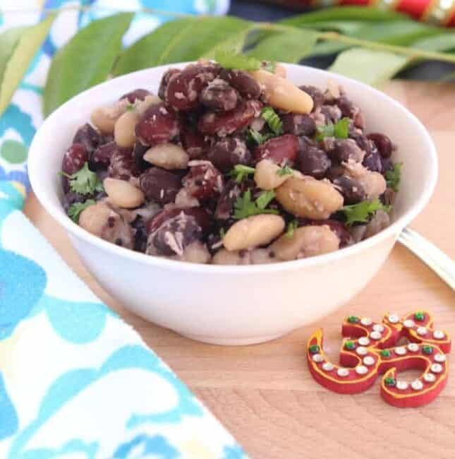 canned beans sundal placed on a white bowl