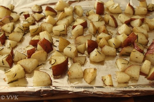 Roasted potatoes after 20 minutes in the oven
