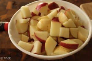 Washed potatoes chopped in small cubes