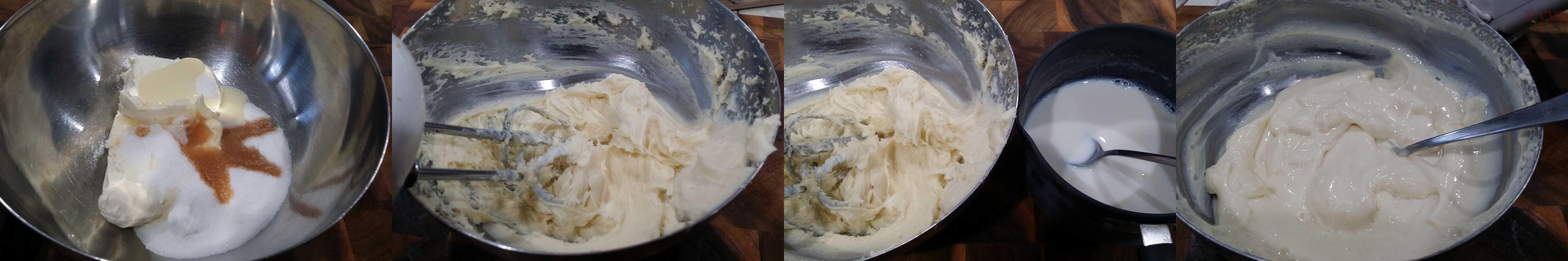 Adding the agar agar milk mix to the cheese mix
