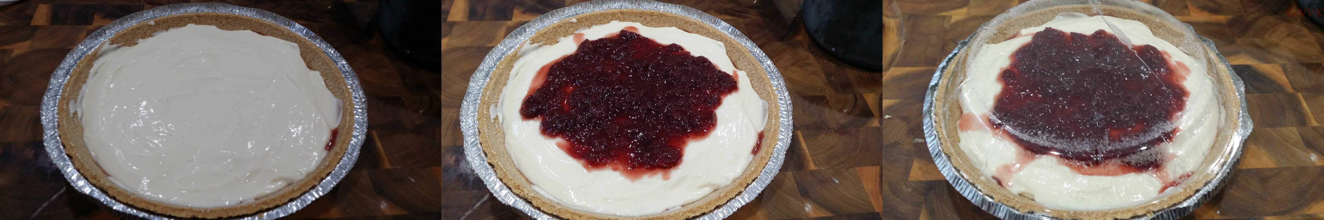 Adding the 3 tbsps of cranberry sauce on the top of the cake