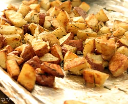 Delicious oven roasted rosemary potatoes ready