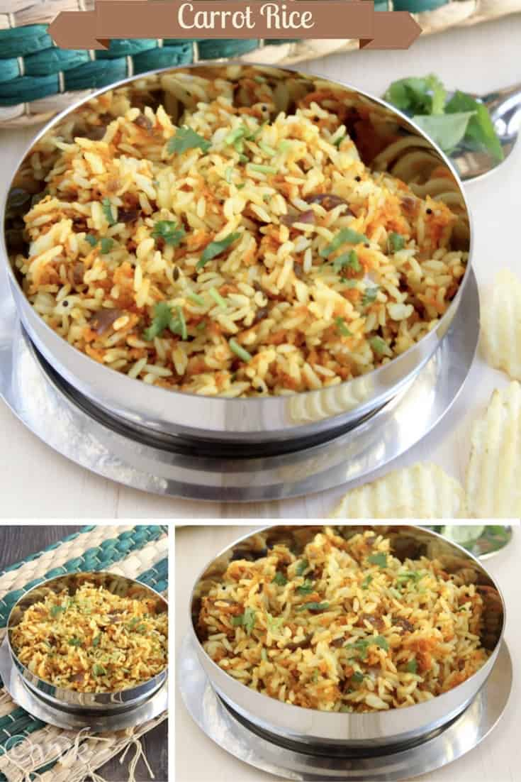 A simple and flavorful lunchbox recipe - Carrot Rice/Pulav