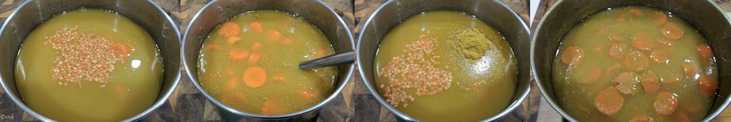 Pressure cooking the carrots along with vegetable broth, lentils, curry powder and salt