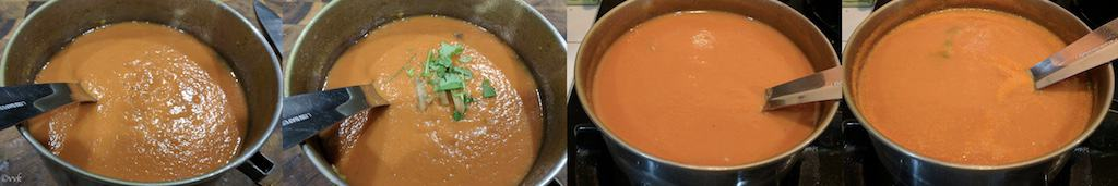 Adding the puree to a heavy bottom pan and add ginger juliennes and chopped cilantro