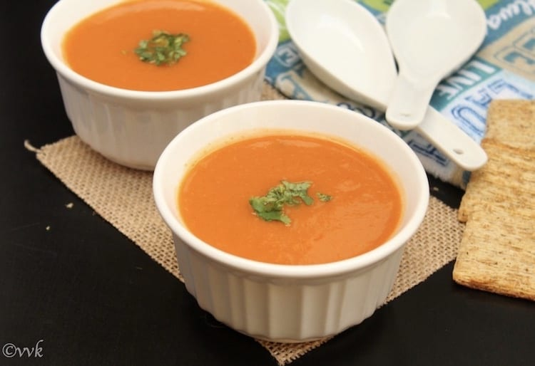Closeup of the healthy and warming Zero Oil Curried Carrot Soup with Lentils and Ginger