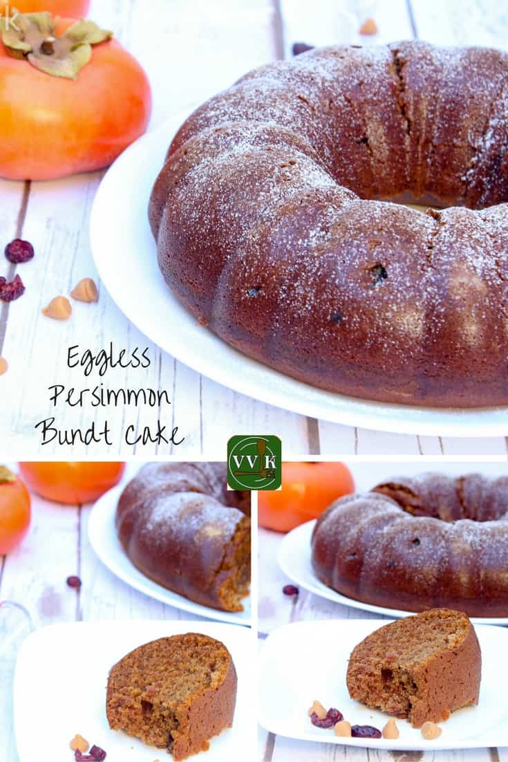 Eggless Persimmon Bundt Cake