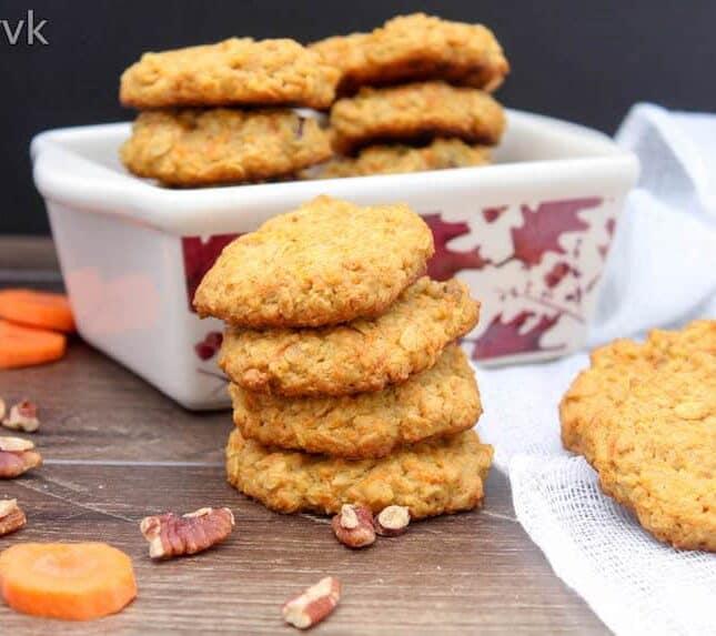 Eggless Oatmeal Carrot Cookies
