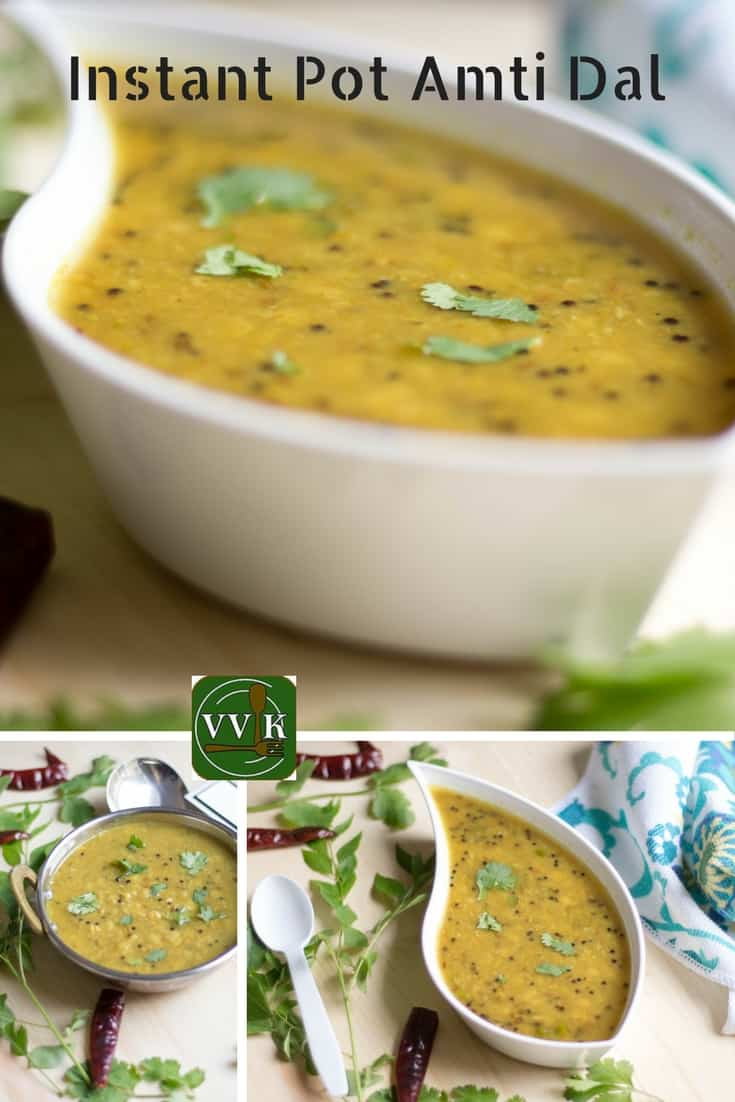 Instant Pot Amti Dal Collage with text overlay