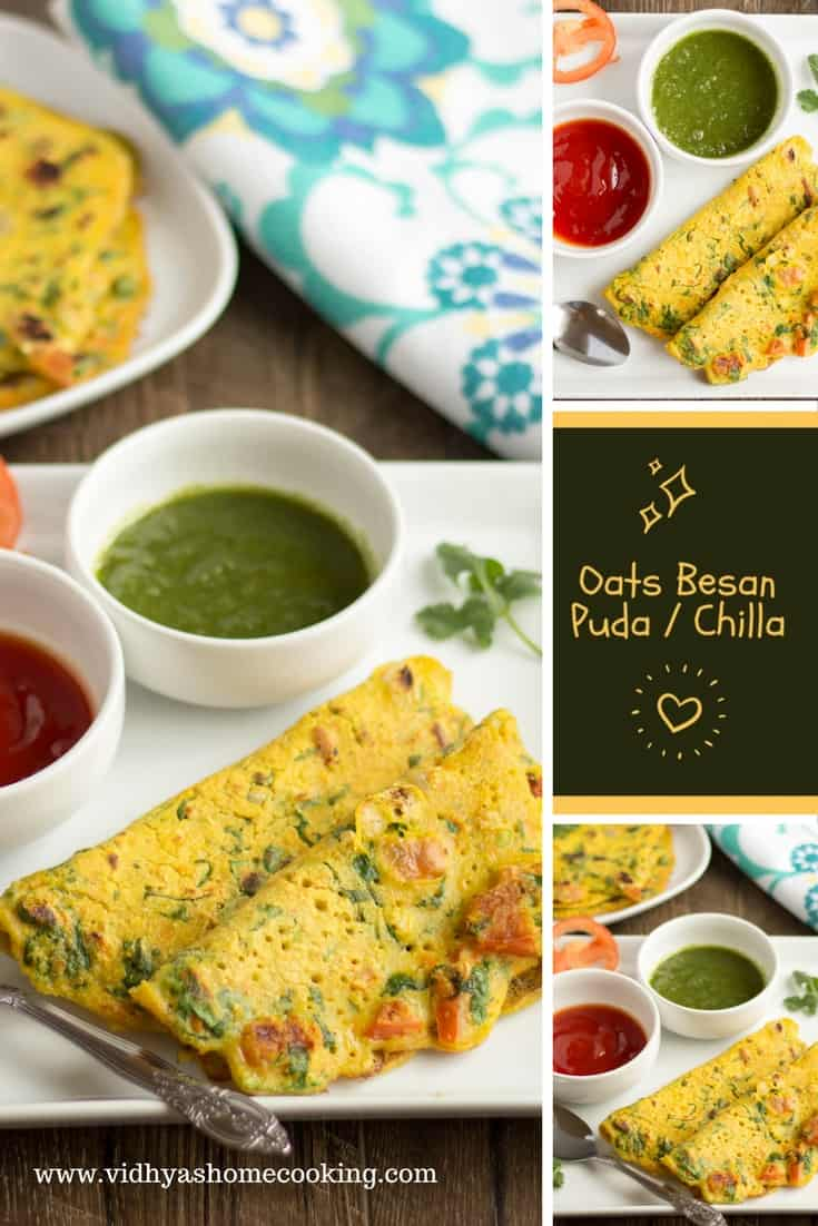 Oats Besan Puda or Chilla collage with text overlay