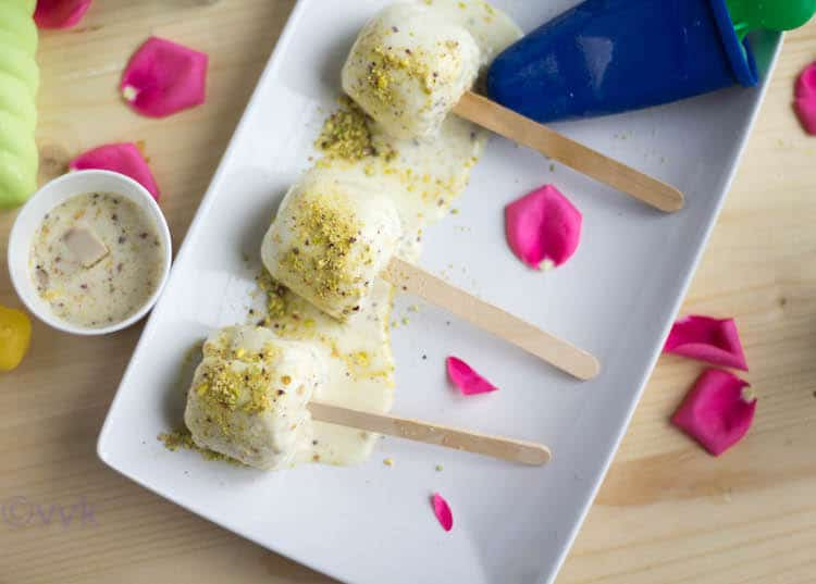 Almond Kulfi | Badam Kulfi served with a delicious side