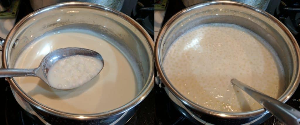 Letting the tapioca cook in the milk under medium heat