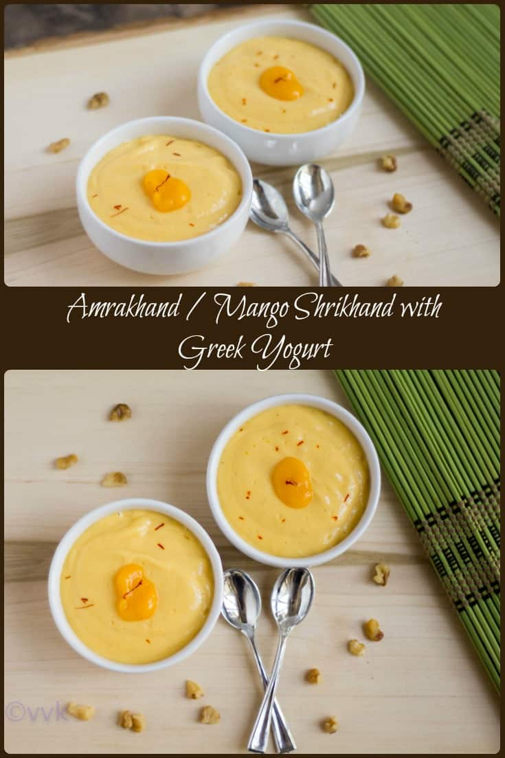 Mango Shrikhand with Greek Yogurt collage with text overlay