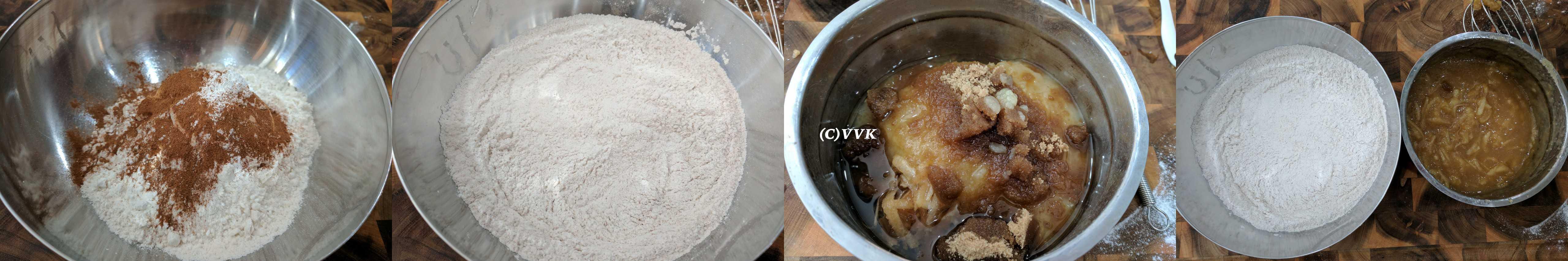 Combining the sieved flour, baking powder, cinnamon and salt.